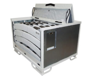 Steel container with multilayered textile dunnage